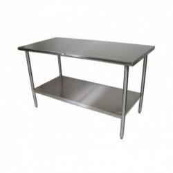 Mesa de trabajo central 1400x500x850 mm con estante montada