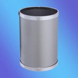 PAPELERA INOX REDONDA AROS CROMADOS 305x210 mm