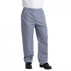 Pantalón de cocinas Vegas de cuadros pequeños blanco y azul