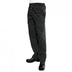 Pantalón de cocina unisex Easyfit rayas blanco y negro Talla XL