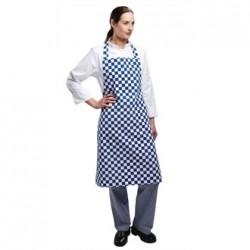 Delantal con peto azul Con cuadro blanco estampado Medidas 965x711 mm