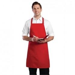 Delantal con peto y cuello ajustable rojo Medidas 860x610 mm