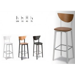 Taburete madera ( asiento: Madera / Tapizado ) con respaldo sin reposabrazos