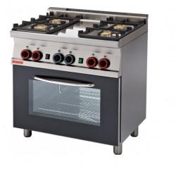 Cocina GAS 4 Fuegos + Horno GAS Estático CON ASADOR SERIE 60 LOTUS