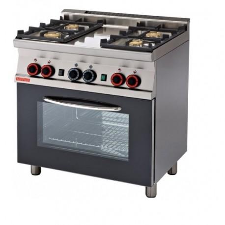 Cocina Y Horno A Gas | Cocina Gas 4 Fuegos Horno Gas Estatico Con Asador Serie 60 Lotus
