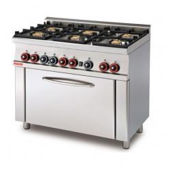 Cocina GAS 4 6 Fuegos + Horno GAS Estático CON ASADOR SERIE 60 LOTUS