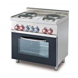 Cocina Trifásica 4 Fuegos+Horno Eléctrico Multifuncional Cámara GN 1/1 SERIE 60 LOTUS