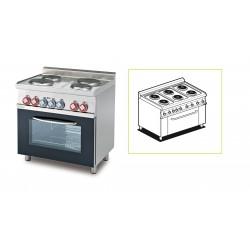 Cocina Trifásica 6 Fuegos + Horno Eléctrico Multifuncional Cámara GN 1/1 SERIE 60 LOTUS