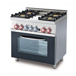 Cocina Mixta 4 Fuegos + Horno Multifuncional Cámara GN 1/1 SERIE 60 LOTUS