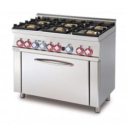 Cocina Mixta 6 Fuegos Horno Multifuncional Cámara GN1/1 SERIE 60 LOTUS