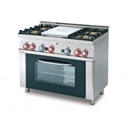 Cocina GAS 4 FUEGOS + Placa de Cocción+ Horno Eléctrico Estático Cámara GN1/1 SERIE 60 LOTUS