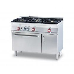 Cocina GAS 3 Fuegos + Horno Gas Estático con Asador GN 1/1 + Armario Neutro con Puerta SERIE 60 LOTUS