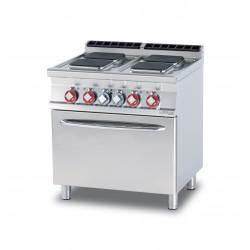 Cocina Eléctrica 4 Placas Cuadradas + Horno Eléctrico Ventilado GN 1/1 SERIE 70 LOTUS