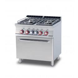 Cocina GAS 4 Fuegos + Horno Eléctrico Estático SERIE 70 LOTUS
