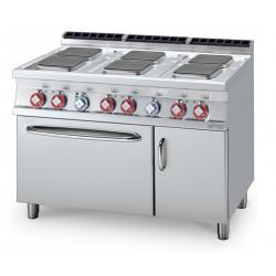 Cocina Eléctrica 6 Planchas + Horno Eléctrico Estático GN 2/1 + Armario SERIE 70 LOTUS