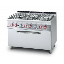 Cocina GAS 6 Fuegos + Horno GAS Estático GN 3/1 SERIE 70 LOTUS