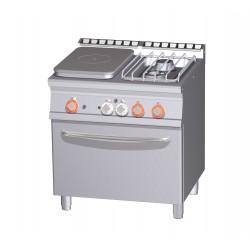 Placa de Cocción GAS + 2 Fuegos Sobre Horno Eléctrico Ventilado GN 1/1 SERIE 70 LOTUS