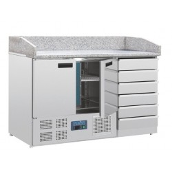 Mostrador pizza Polar mesa mármol 2 puertas y cajones compresor inferior