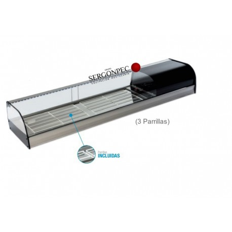 Vitrina Refrigerada 3 Parrillas Cristal Curvo FR-200i Con grupo incorporado