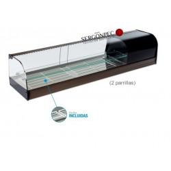 Vitrina Refrigerada Enfriatapas con Estante 2 Parrillas Cristal Curvo