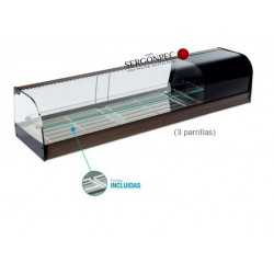 Vitrina Refrigerada Enfriatapas con Estante 3 Parrillas Cristal Curvo