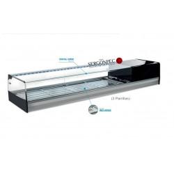 Vitrina Refrigerada Enfriatapas 3 Parrillas Cristal Recto 20R-F200