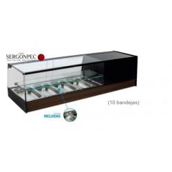 Vitrina Refrigerada Enfriatapas con Estante 10 Bandejas Cristal Recto