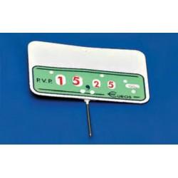 Cartel portaprecios ruedas 11x7,5 fondo verde