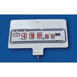 Cartel portaprecios ruedas 3+2 dígitos fondo blanco