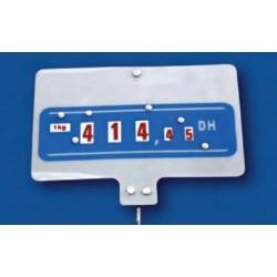 Cartel portaprecios ruedas 3+2 dígitos fondo azul