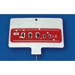 Cartel portaprecios ruedas 3+2 dígitos fondo rojo