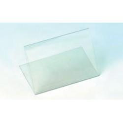 Porta tarjeta transparente con base
