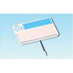 Cartel portaprecios con guía para etiqueta, masa azul