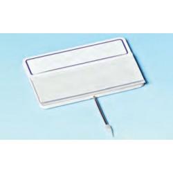 Cartel portaprecios con guía para etiqueta, blanco