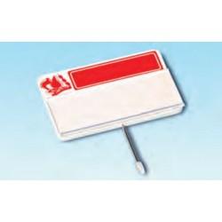 Cartel portaprecios con guía para etiqueta, masa roja
