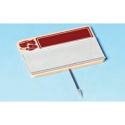 Cartel portaprecios  con guía para etiqueta, masa marrón