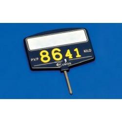 Cartel portaprecios inyección núm. relieve azul