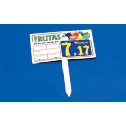 Cartel portaprecios frutas y verduras núm. recambiable blanco