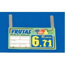Cartel portaprecios frutas y verduras núm. recambiable ganchos verde