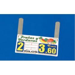 Cartel portaprecios frutas y verduras núm. recambiable, paleta