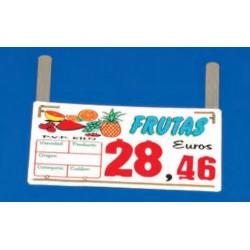 Cartel portaprecios frutas y verduras núm. recambiable, 4 dígitos, paleta
