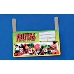 Cartel portaprecios frutas y verduras núm. ruedas, 4 dígitos, paleta
