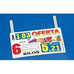 Cartel portaprecios frutas y verduras oferta kilos, núm. recambiable, paleta