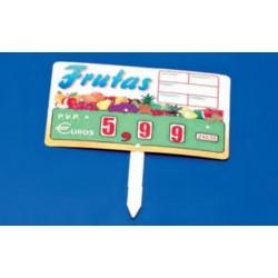 Cartel portaprecios frutas y verduras núm. ruedas, paleta