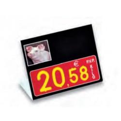Cartel portaprecios UVI Porcino, Núm. relieve, con base