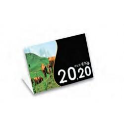 Cartel portaprecios UVI Porcino, Núm. relieve, con base 10,5 x 7,5