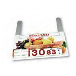 Cartel portaprecios Frutas, Núm. relieve, con ganchos