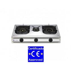 Cocina a Gas 3 Fuegos Sobremesa de 710x370x85 mm.