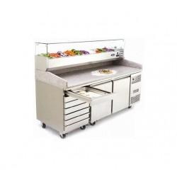 Mesas frías para preparación de pizzas con expositor de ingredientes 800 PZ-3610-TN (2010x800x1000 mm)