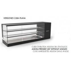 Vitrina Refrigerada 4 Bandejas  Cuba Plana 1320x380x460  2 ESTANTES SAYL